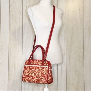 Patricia Nash Leather Red Floral Crossbody Bag